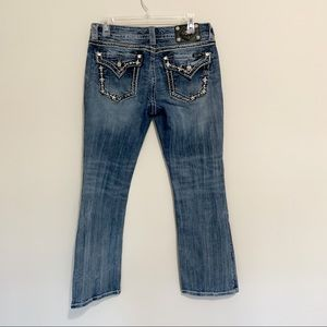Miss Me Bejeweled Flap Pocket Boot Cut Jeans 31